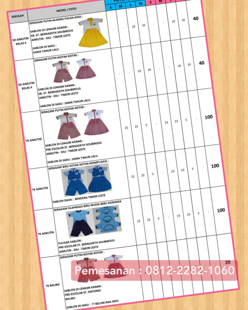 Bikin baju seragam sekolah tk Murah di di walantaka