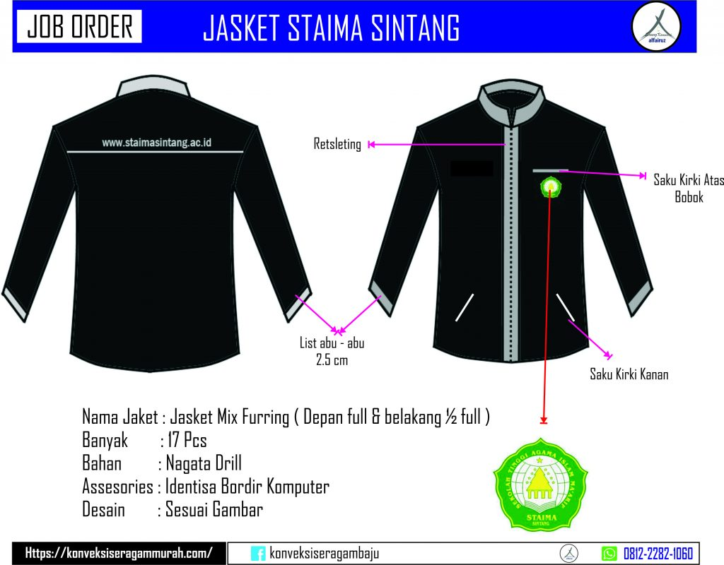 Desain jas jaket almamater  kantor murah di sintang kalimantan barat